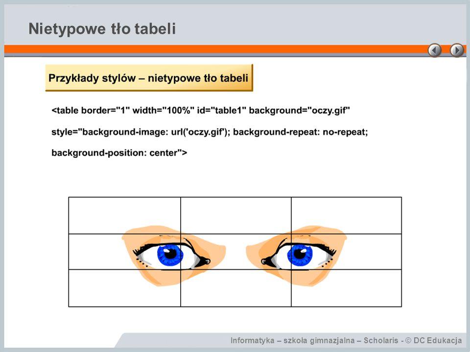 Informatyka – szkoła gimnazjalna – Scholaris - © DC Edukacja Nietypowe tło tabeli