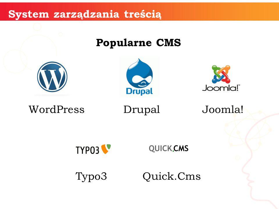 System zarządzania treścią Popularne CMS WordPress Drupal Joomla! Typo3 Quick.Cms