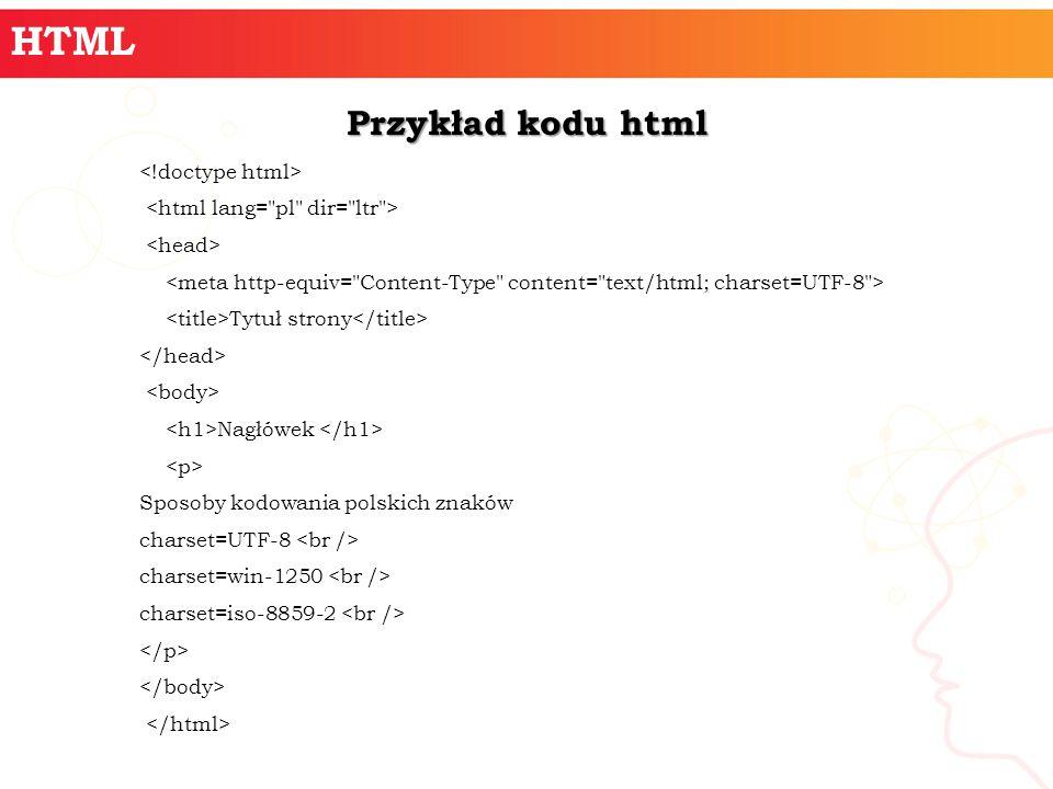 HTML Przykład kodu html Tytuł strony Nagłówek Sposoby kodowania polskich znaków charset=UTF-8 charset=win-1250 charset=iso-8859-2