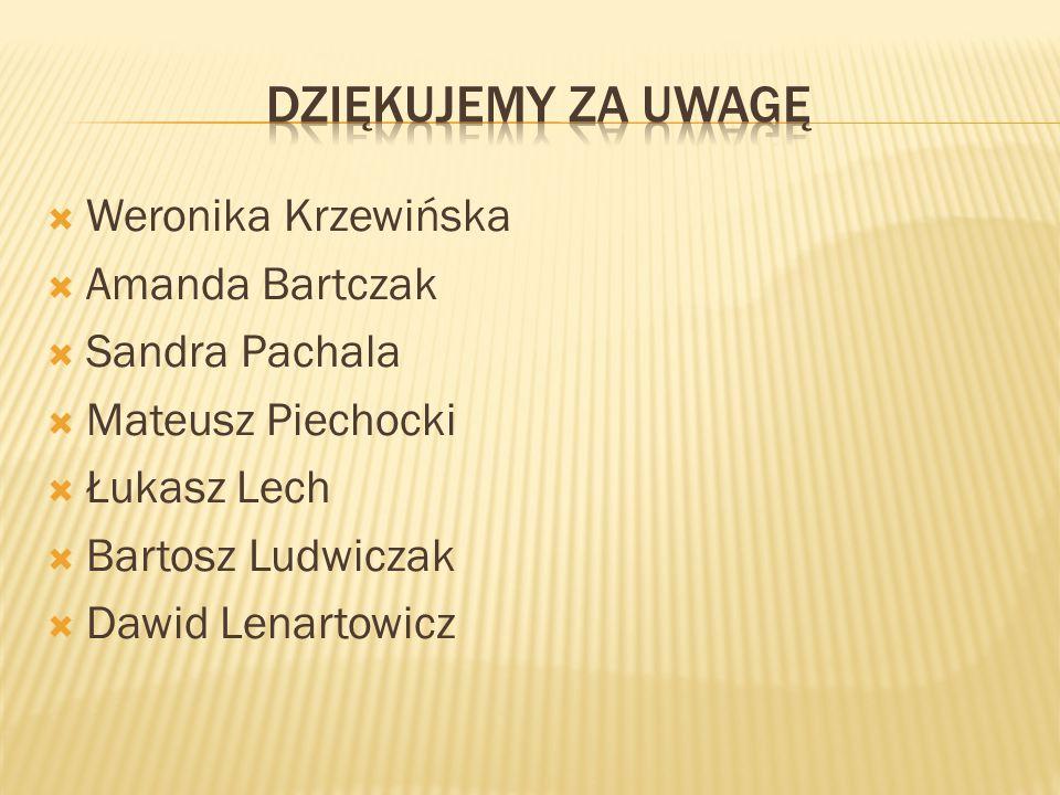  Weronika Krzewińska  Amanda Bartczak  Sandra Pachala  Mateusz Piechocki  Łukasz Lech  Bartosz Ludwiczak  Dawid Lenartowicz