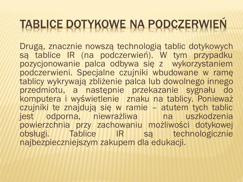 Drugą, znacznie nowszą technologią tablic dotykowych są tablice IR (na podczerwień). W tym przypadku pozycjonowanie palca odbywa się z wykorzystaniem