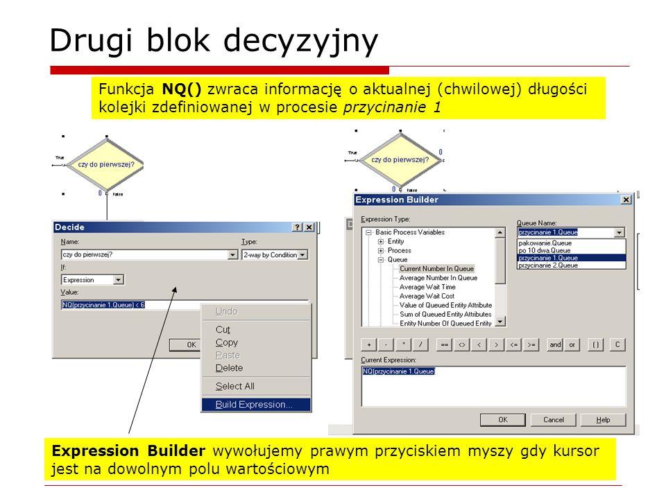 Drugi blok decyzyjny Expression Builder wywołujemy prawym przyciskiem myszy gdy kursor jest na dowolnym polu wartościowym Funkcja NQ() zwraca informację o aktualnej (chwilowej) długości kolejki zdefiniowanej w procesie przycinanie 1