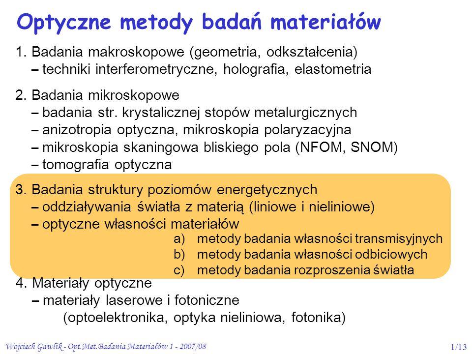 Wojciech Gawlik - Opt.Met.Badania Materiałów 1 - 2007/081/13 Optyczne metody badań materiałów 3. Badania struktury poziomów energetycznych – oddziaływ