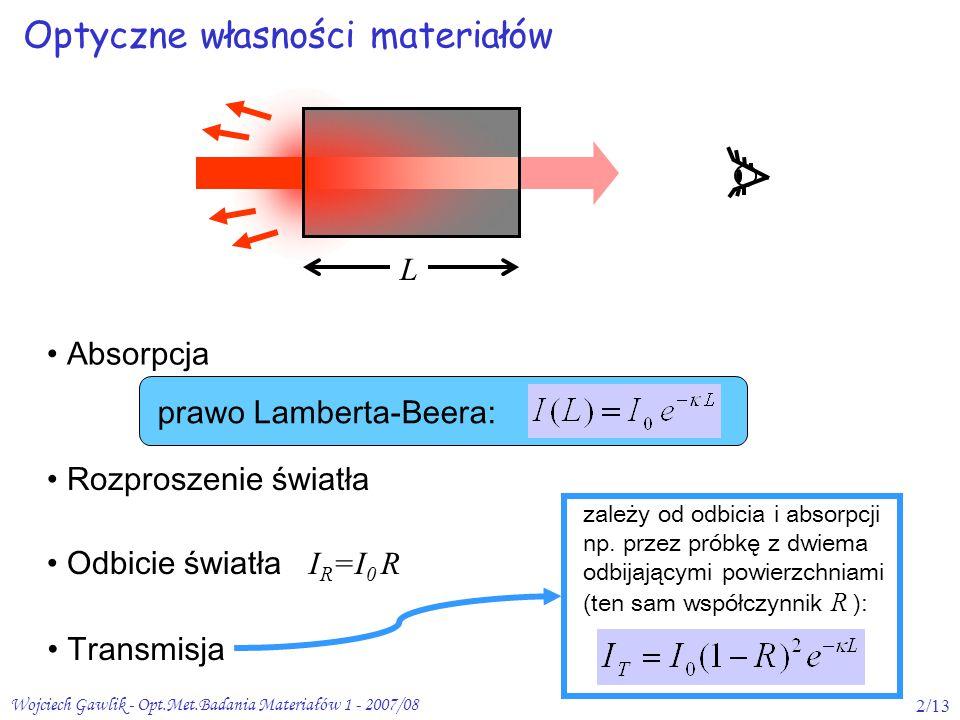 Wojciech Gawlik - Opt.Met.Badania Materiałów 1 - 2007/082/13 Optyczne własności materiałów prawo Lamberta-Beera: L Absorpcja Rozproszenie światła Odbi