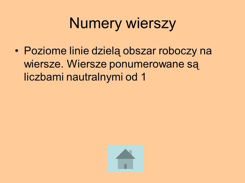 Numery wierszy Poziome linie dzielą obszar roboczy na wiersze. Wiersze ponumerowane są liczbami nautralnymi od 1