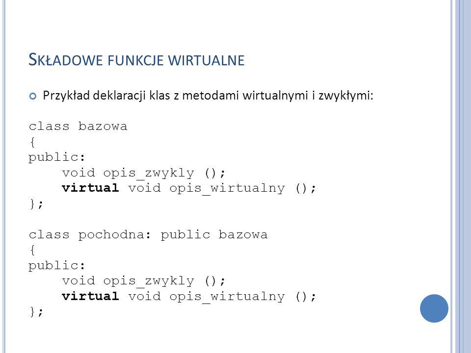 S KŁADOWE FUNKCJE WIRTUALNE Przykład deklaracji klas z metodami wirtualnymi i zwykłymi: class bazowa { public: void opis_zwykly (); virtual void opis_wirtualny (); }; class pochodna: public bazowa { public: void opis_zwykly (); virtual void opis_wirtualny (); };