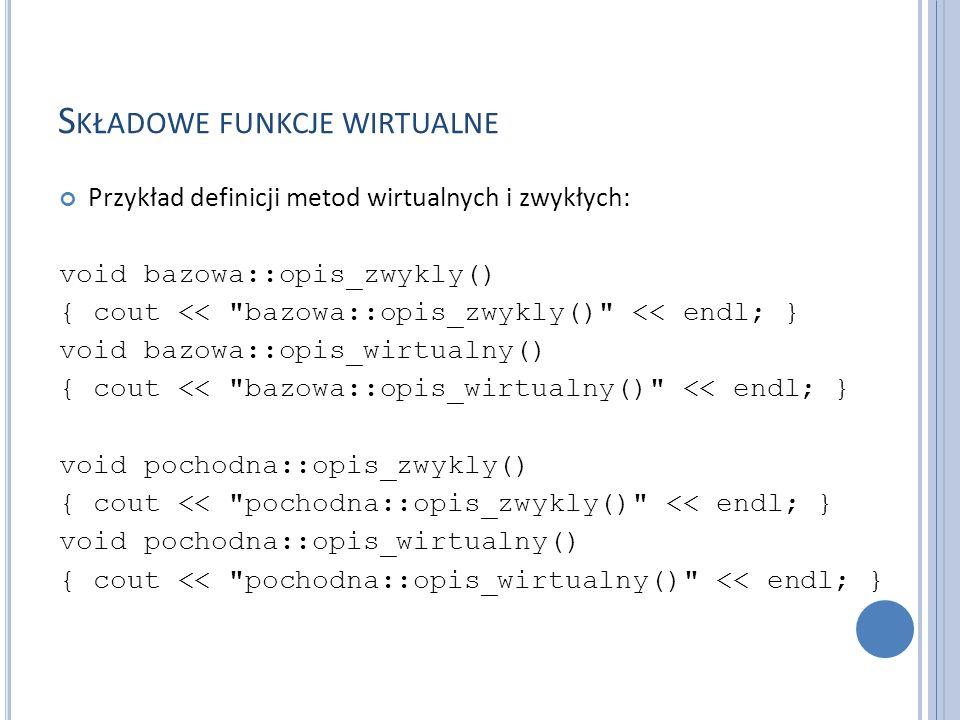 S KŁADOWE FUNKCJE WIRTUALNE Przykład definicji metod wirtualnych i zwykłych: void bazowa::opis_zwykly() { cout << bazowa::opis_zwykly() << endl; } void bazowa::opis_wirtualny() { cout << bazowa::opis_wirtualny() << endl; } void pochodna::opis_zwykly() { cout << pochodna::opis_zwykly() << endl; } void pochodna::opis_wirtualny() { cout << pochodna::opis_wirtualny() << endl; }