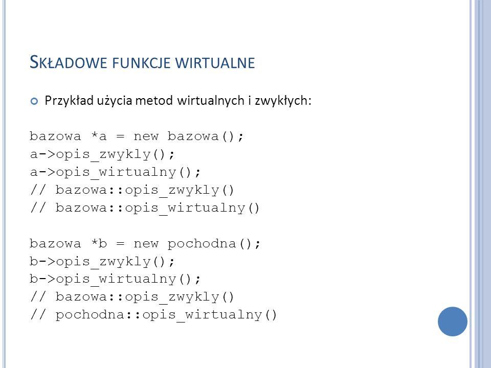 S KŁADOWE FUNKCJE WIRTUALNE Funkcja wirtualna musi być zdefiniowana dla klasy, w której po raz pierwszy została zadeklarowana.