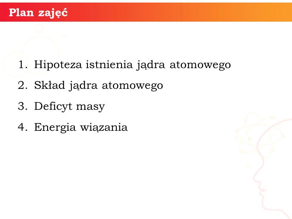 Plan zajęć 1.Hipoteza istnienia jądra atomowego 2.Skład jądra atomowego 3.Deficyt masy 4.Energia wiązania informatyka + 3