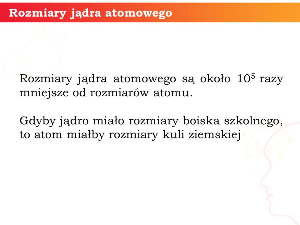 informatyka + 6 Rozmiary jądra atomowego Rozmiary jądra atomowego są około 10 5 razy mniejsze od rozmiarów atomu.