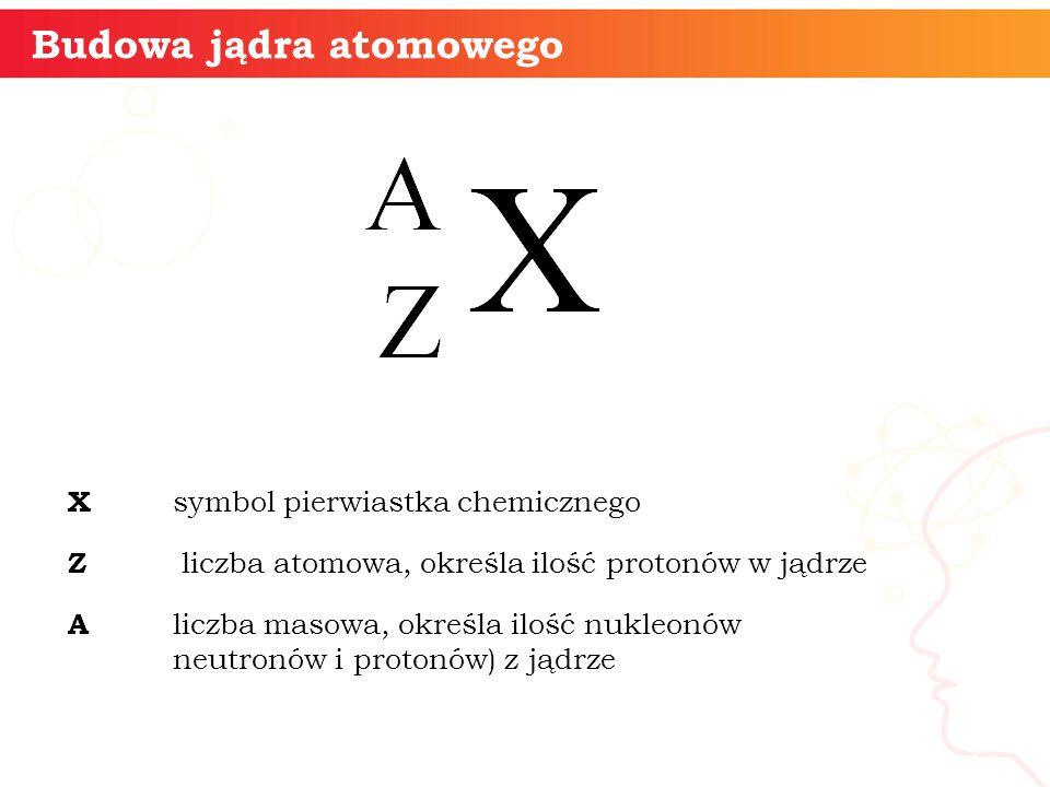 X symbol pierwiastka chemicznego Z liczba atomowa, określa ilość protonów w jądrze A liczba masowa, określa ilość nukleonów neutronów i protonów) z jądrze informatyka + 7 Budowa jądra atomowego
