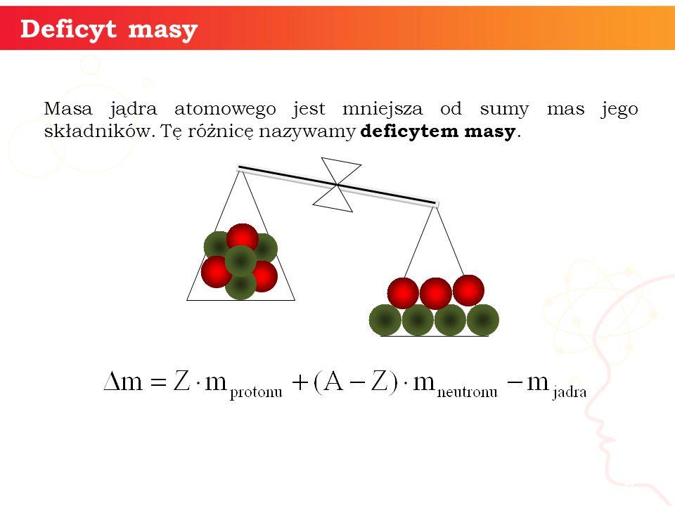 Masa jądra atomowego jest mniejsza od sumy mas jego składników.