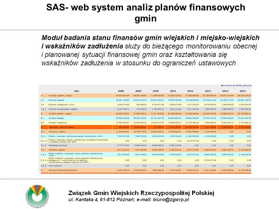 Moduł badania stanu finansów gmin wiejskich i miejsko-wiejskich i wskaźników zadłużenia służy do bieżącego monitorowaniu obecnej i planowanej sytuacji