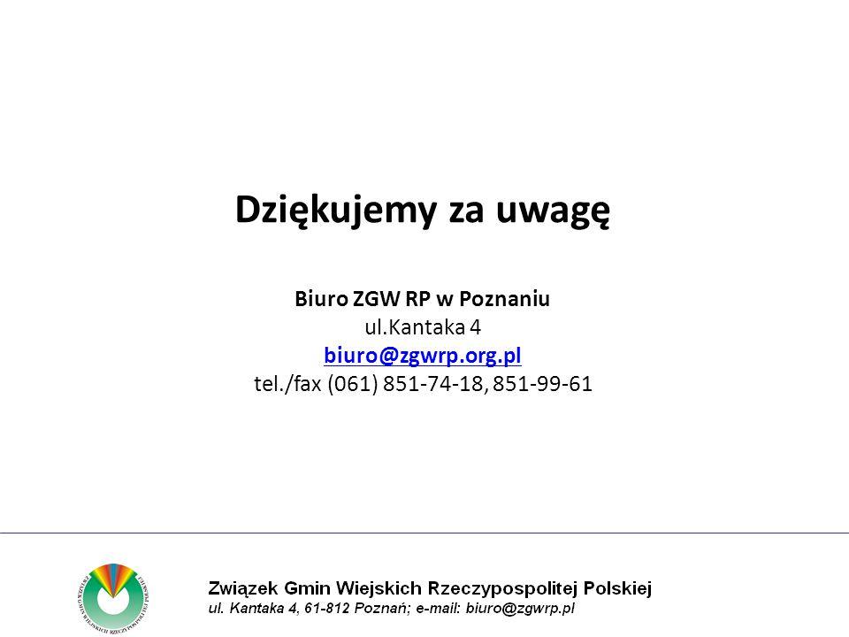 Dziękujemy za uwagę Biuro ZGW RP w Poznaniu ul.Kantaka 4 biuro@zgwrp.org.pl tel./fax (061) 851-74-18, 851-99-61