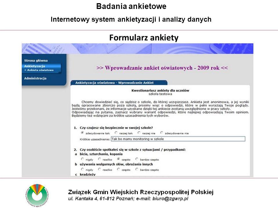 Formularz ankiety Badania ankietowe Internetowy system ankietyzacji i analizy danych
