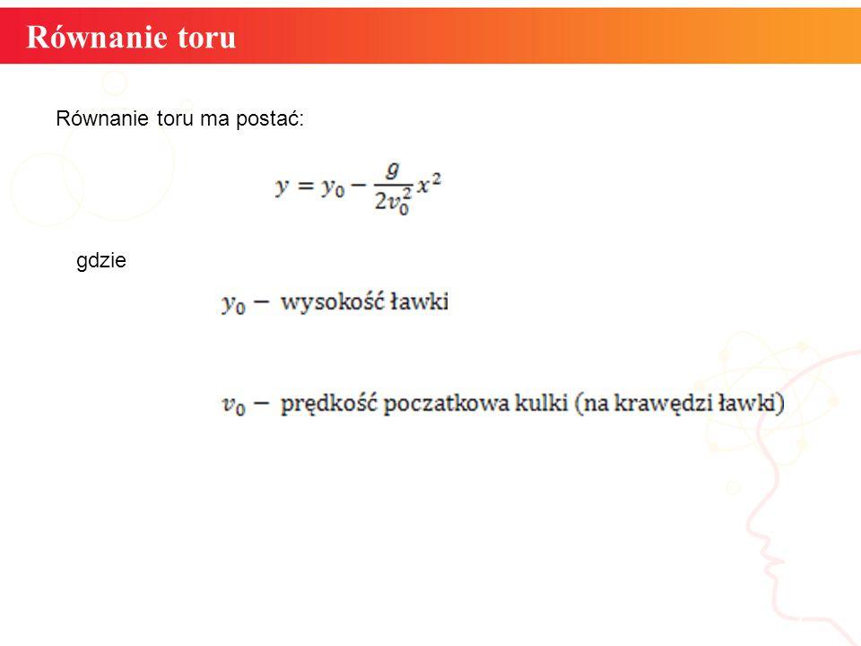 Równanie toru informatyka + 7 Równanie toru ma postać: gdzie