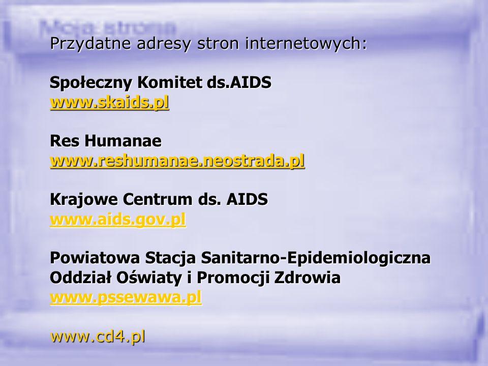 Przydatne adresy stron internetowych: Społeczny Komitet ds.AIDS www.skaids.pl Res Humanae www.reshumanae.neostrada.pl Krajowe Centrum ds. AIDS www.aid
