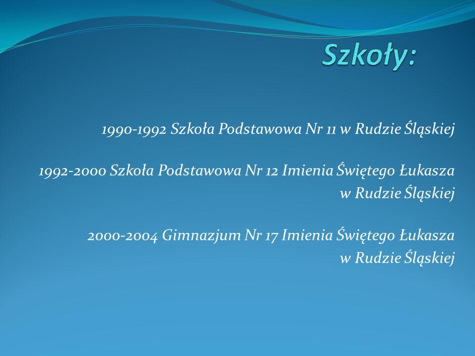 1990-1992 Szkoła Podstawowa Nr 11 w Rudzie Śląskiej 1992-2000 Szkoła Podstawowa Nr 12 Imienia Świętego Łukasza w Rudzie Śląskiej 2000-2004 Gimnazjum Nr 17 Imienia Świętego Łukasza w Rudzie Śląskiej