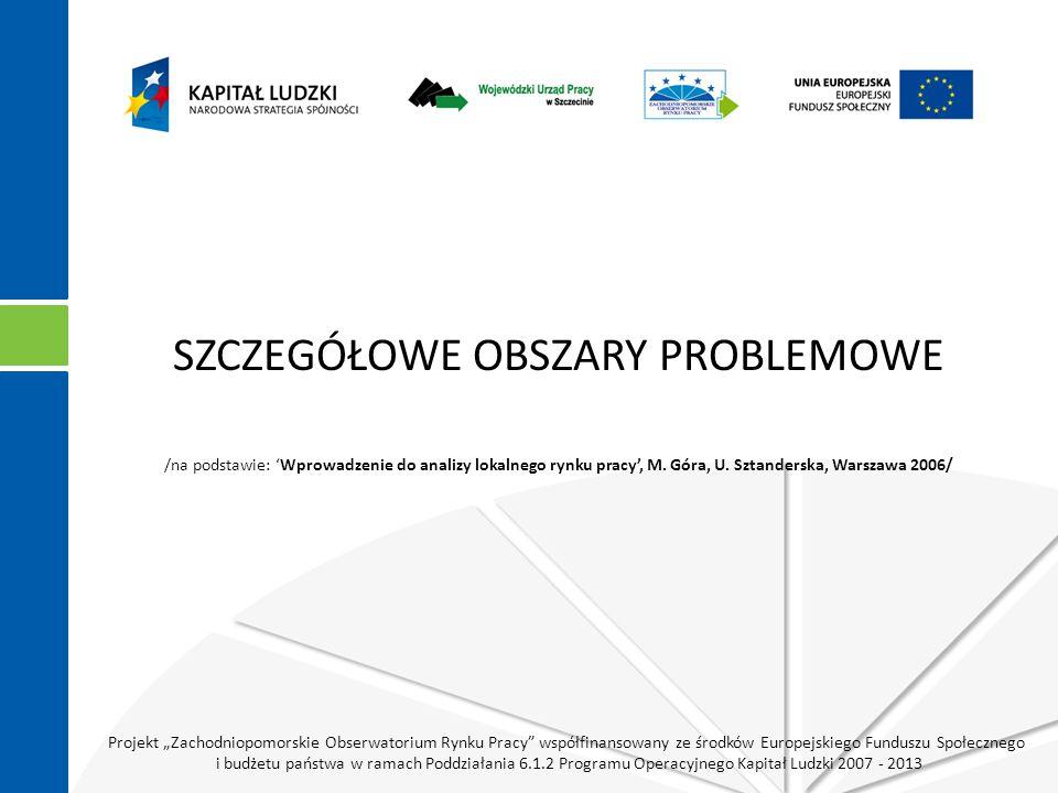 """Projekt """"Zachodniopomorskie Obserwatorium Rynku Pracy współfinansowany ze środków Europejskiego Funduszu Społecznego i budżetu państwa w ramach Poddziałania 6.1.2 Programu Operacyjnego Kapitał Ludzki 2007 - 2013 SZCZEGÓŁOWE OBSZARY PROBLEMOWE /na podstawie: 'Wprowadzenie do analizy lokalnego rynku pracy', M."""