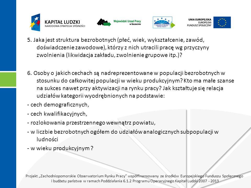 """Projekt """"Zachodniopomorskie Obserwatorium Rynku Pracy współfinansowany ze środków Europejskiego Funduszu Społecznego i budżetu państwa w ramach Poddziałania 6.1.2 Programu Operacyjnego Kapitał Ludzki 2007 - 2013 5."""