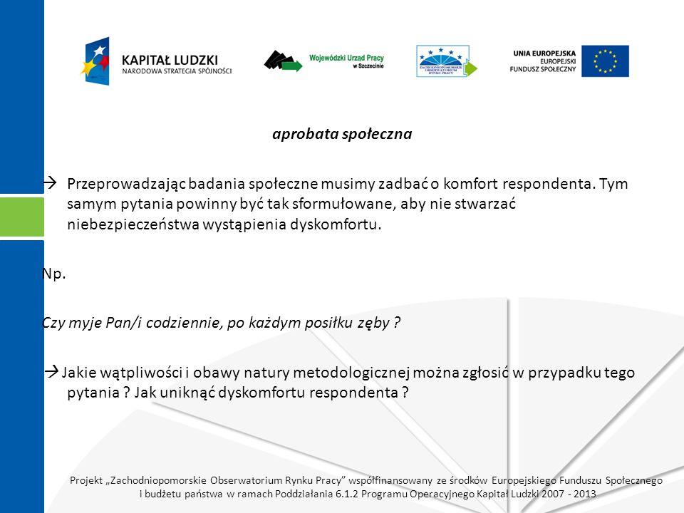 """Projekt """"Zachodniopomorskie Obserwatorium Rynku Pracy współfinansowany ze środków Europejskiego Funduszu Społecznego i budżetu państwa w ramach Poddziałania 6.1.2 Programu Operacyjnego Kapitał Ludzki 2007 - 2013 aprobata społeczna  Przeprowadzając badania społeczne musimy zadbać o komfort respondenta."""
