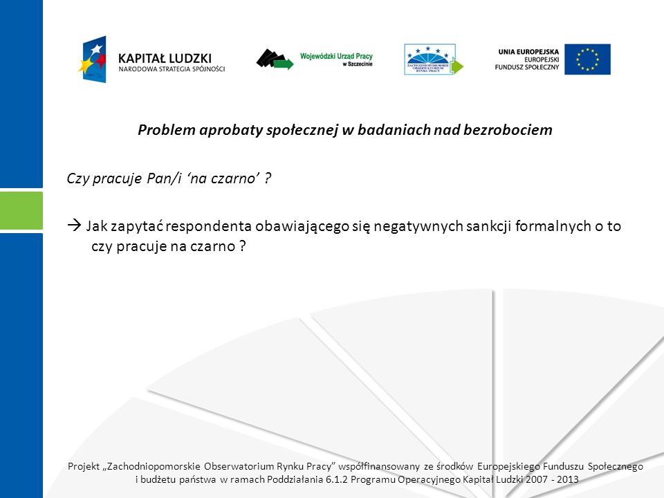 """Projekt """"Zachodniopomorskie Obserwatorium Rynku Pracy współfinansowany ze środków Europejskiego Funduszu Społecznego i budżetu państwa w ramach Poddziałania 6.1.2 Programu Operacyjnego Kapitał Ludzki 2007 - 2013 Problem aprobaty społecznej w badaniach nad bezrobociem Czy pracuje Pan/i 'na czarno' ."""