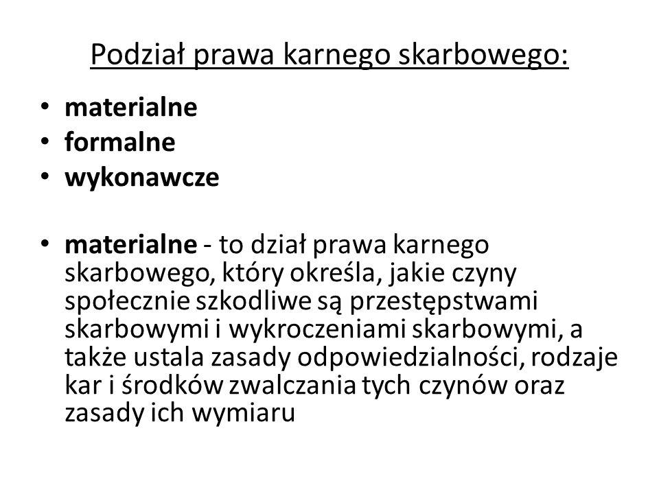 Podział prawa karnego skarbowego na działy - c.d.