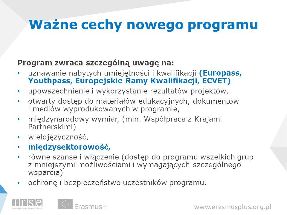 Ważne cechy nowego programu Program zwraca szczególną uwagę na: uznawanie nabytych umiejętności i kwalifikacji (Europass, Youthpass, Europejskie Ramy Kwalifikacji, ECVET) upowszechnienie i wykorzystanie rezultatów projektów, otwarty dostęp do materiałów edukacyjnych, dokumentów i mediów wyprodukowanych w programie, międzynarodowy wymiar, (min.