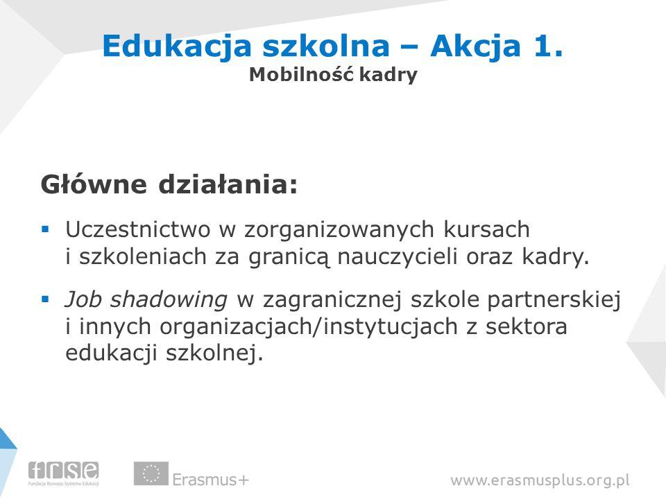 Edukacja szkolna – Akcja 1. Mobilność kadry Główne działania:  Uczestnictwo w zorganizowanych kursach i szkoleniach za granicą nauczycieli oraz kadry