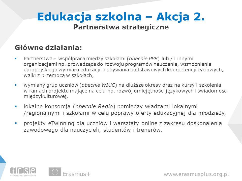 Główne działania:  Partnerstwa – współpraca między szkołami (obecnie PPS) lub / i innymi organizacjami np. prowadząca do rozwoju programów nauczania,