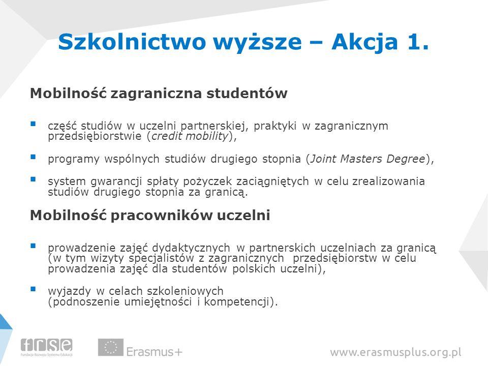 Szkolnictwo wyższe – Akcja 1. Mobilność zagraniczna studentów  część studiów w uczelni partnerskiej, praktyki w zagranicznym przedsiębiorstwie (credi