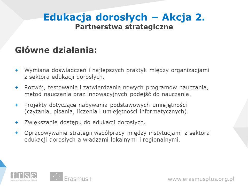 Główne działania: + Wymiana doświadczeń i najlepszych praktyk między organizacjami z sektora edukacji dorosłych.
