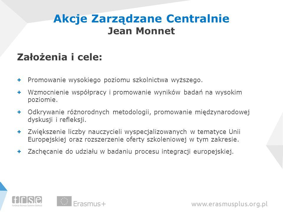 Akcje Zarządzane Centralnie Jean Monnet Założenia i cele: + Promowanie wysokiego poziomu szkolnictwa wyższego. + Wzmocnienie współpracy i promowanie w