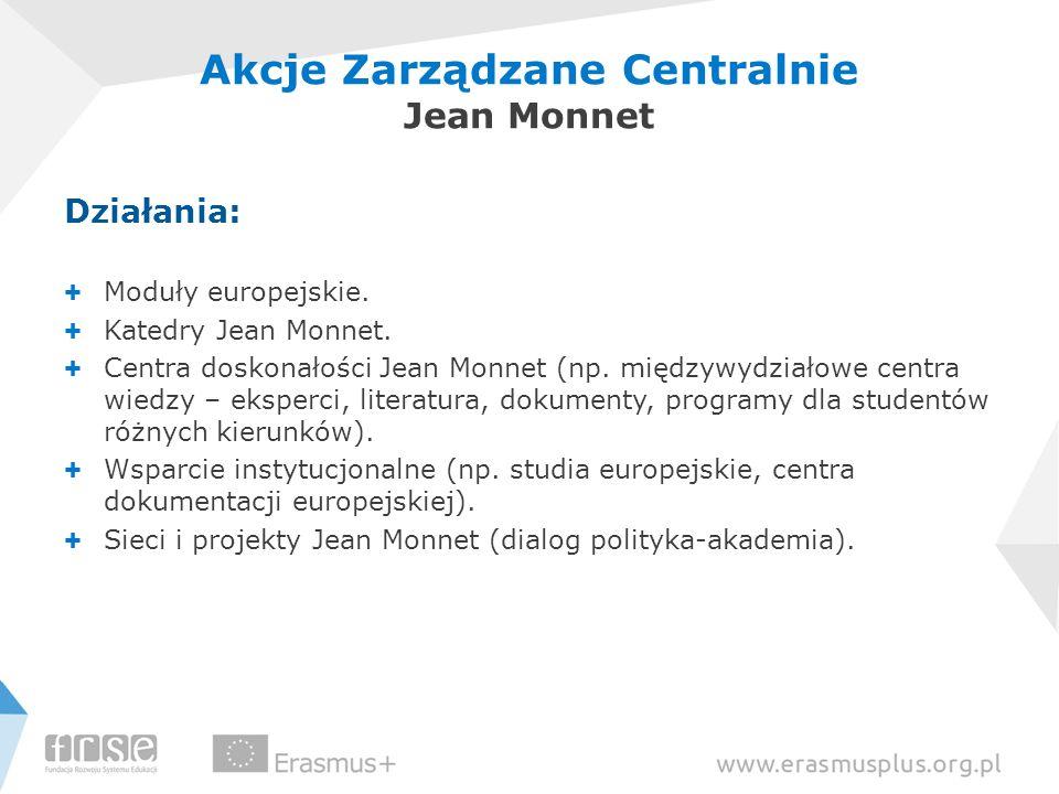 Działania: + Moduły europejskie. + Katedry Jean Monnet. + Centra doskonałości Jean Monnet (np. międzywydziałowe centra wiedzy – eksperci, literatura,