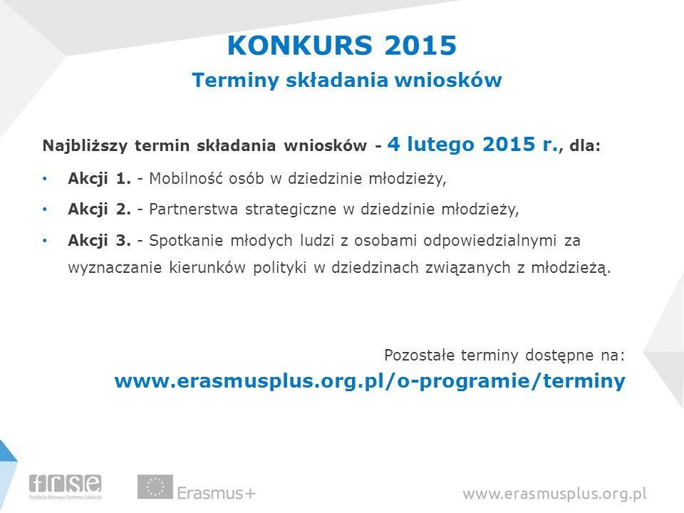Najbliższy termin składania wniosków - 4 lutego 2015 r., dla: Akcji 1. - Mobilność osób w dziedzinie młodzieży, Akcji 2. - Partnerstwa strategiczne w