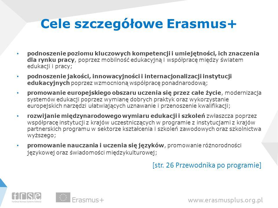 Cele szczegółowe Erasmus+ podnoszenie poziomu kluczowych kompetencji i umiejętności, ich znaczenia dla rynku pracy, poprzez mobilność edukacyjną i współpracę między światem edukacji i pracy; podnoszenie jakości, innowacyjności i internacjonalizacji instytucji edukacyjnych poprzez wzmocnioną współpracę ponadnarodową; promowanie europejskiego obszaru uczenia się przez całe życie, modernizacja systemów edukacji poprzez wymianę dobrych praktyk oraz wykorzystanie europejskich narzędzi ułatwiających uznawanie i przenoszenie kwalifikacji; rozwijanie międzynarodowego wymiaru edukacji i szkoleń zwłaszcza poprzez współpracę instytucji z krajów uczestniczących w programie z instytucjami z krajów partnerskich programu w sektorze kształcenia i szkoleń zawodowych oraz szkolnictwa wyższego; promowanie nauczania i uczenia się języków, promowanie różnorodności językowej oraz świadomości międzykulturowej; [str.
