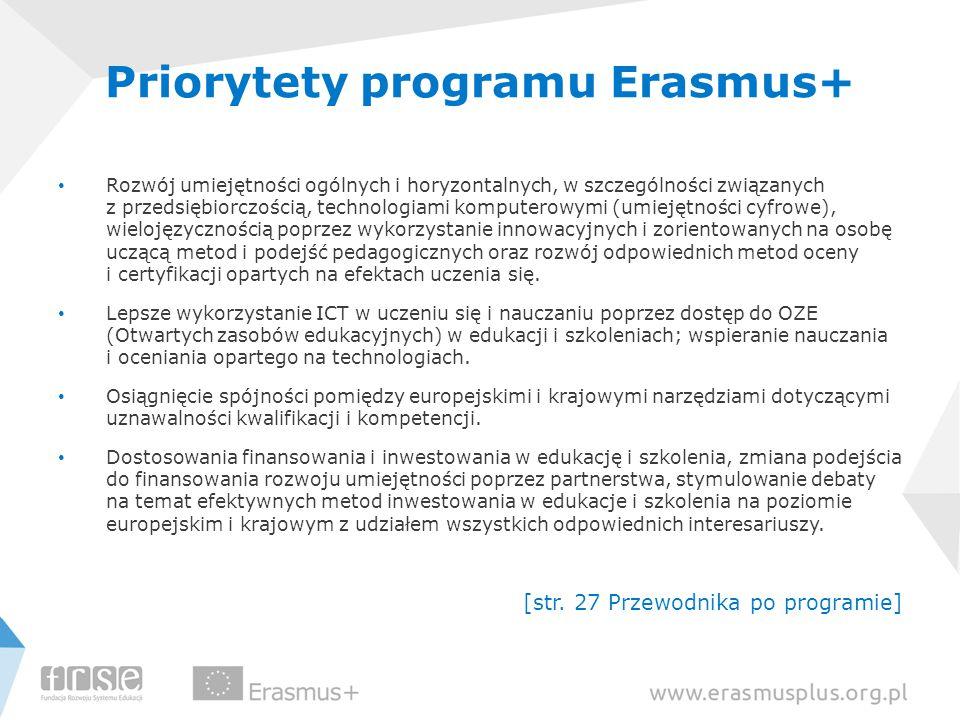 Priorytety programu Erasmus+ Rozwój umiejętności ogólnych i horyzontalnych, w szczególności związanych z przedsiębiorczością, technologiami komputerowymi (umiejętności cyfrowe), wielojęzycznością poprzez wykorzystanie innowacyjnych i zorientowanych na osobę uczącą metod i podejść pedagogicznych oraz rozwój odpowiednich metod oceny i certyfikacji opartych na efektach uczenia się.