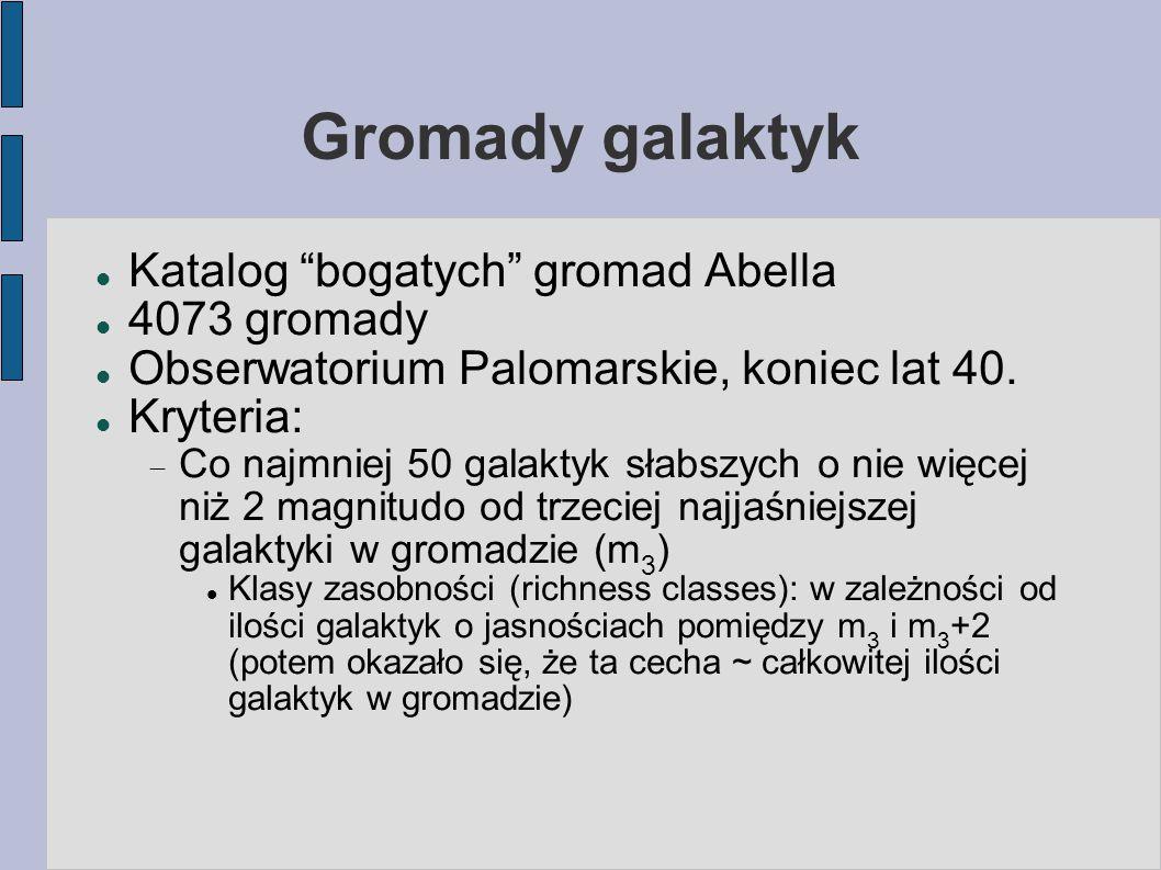 Gromady galaktyk Katalog bogatych gromad Abella 4073 gromady Obserwatorium Palomarskie, koniec lat 40.
