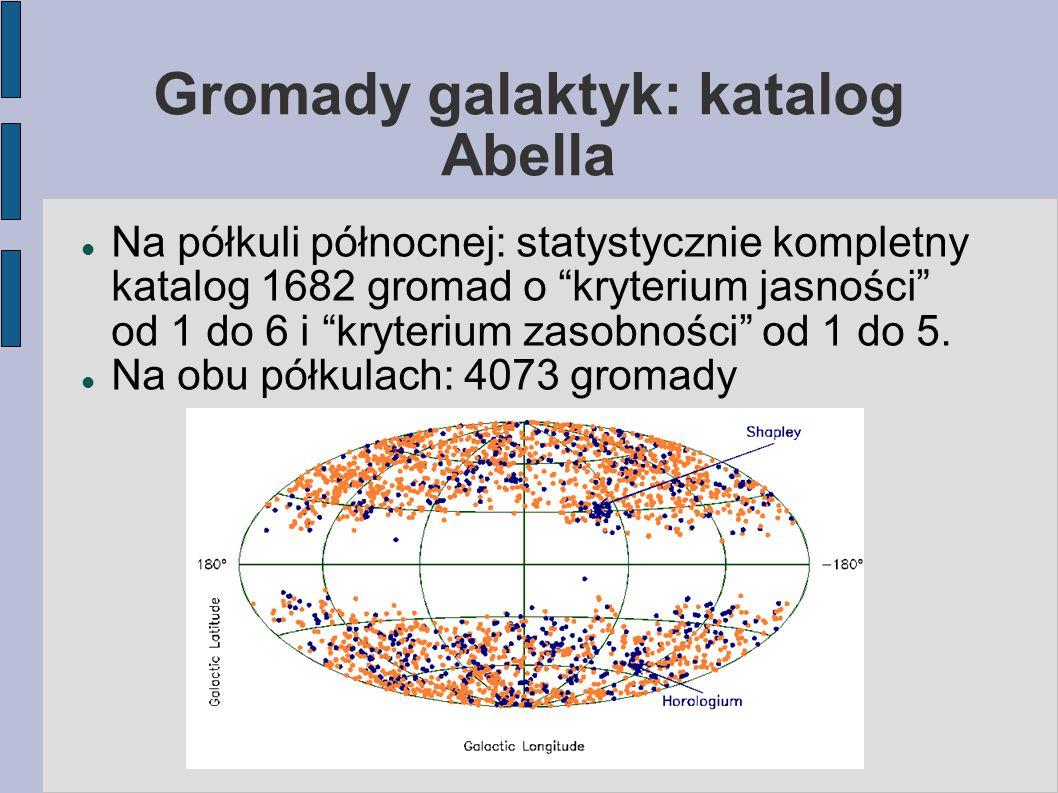 Gromady galaktyk: katalog Abella Na półkuli północnej: statystycznie kompletny katalog 1682 gromad o kryterium jasności od 1 do 6 i kryterium zasobności od 1 do 5.
