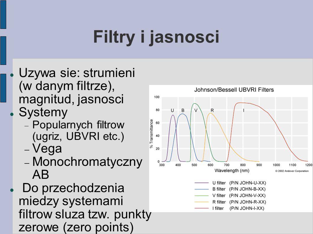 Filtry i jasnosci Uzywa sie: strumieni (w danym filtrze), magnitud, jasnosci Systemy  Popularnych filtrow (ugriz, UBVRI etc.)  Vega  Monochromatyczny AB Do przechodzenia miedzy systemami filtrow sluza tzw.