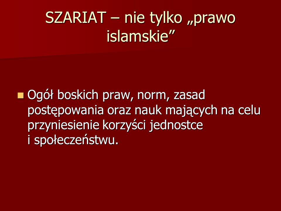 ŹRÓDŁA PRAWA Koran Koran Sunna Sunna Kijas Kijas Idżma Idżma