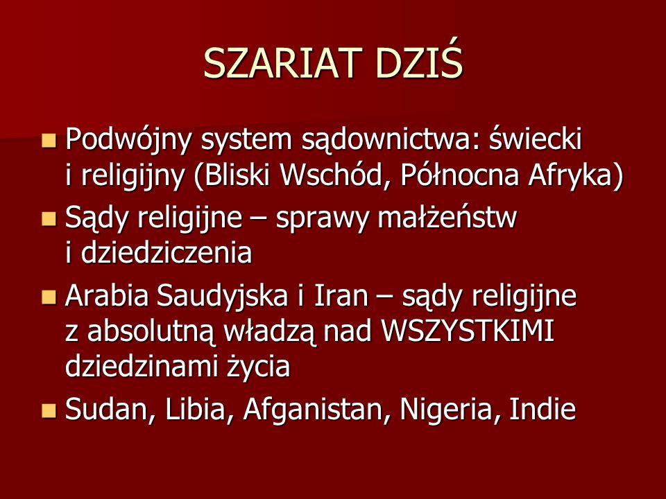 SZARIAT DZIŚ Podwójny system sądownictwa: świecki i religijny (Bliski Wschód, Północna Afryka) Podwójny system sądownictwa: świecki i religijny (Blisk