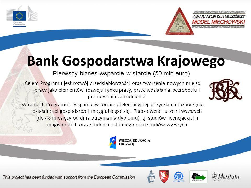 Bank Gospodarstwa Krajowego Celem Programu jest rozwój przedsiębiorczości oraz tworzenie nowych miejsc pracy jako elementów rozwoju rynku pracy, przeciwdziałania bezrobociu i promowania zatrudnienia.