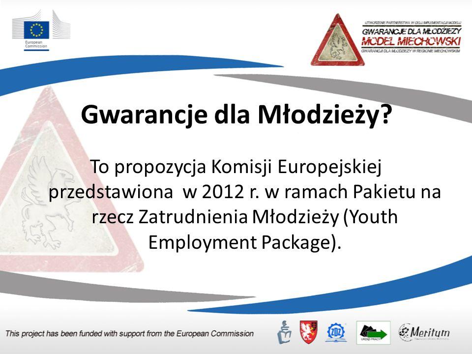 Gwarancje dla Młodzieży.To propozycja Komisji Europejskiej przedstawiona w 2012 r.