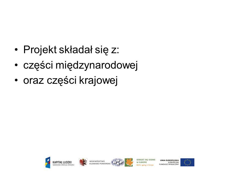 Projekt składał się z: części międzynarodowej oraz części krajowej