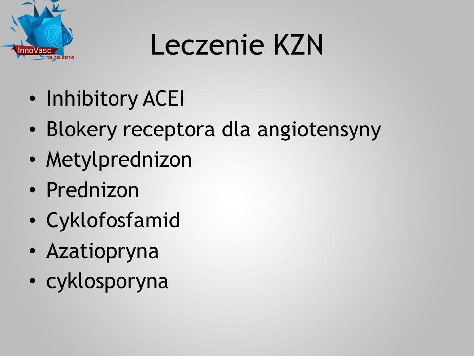 Leczenie KZN Inhibitory ACEI Blokery receptora dla angiotensyny Metylprednizon Prednizon Cyklofosfamid Azatiopryna cyklosporyna