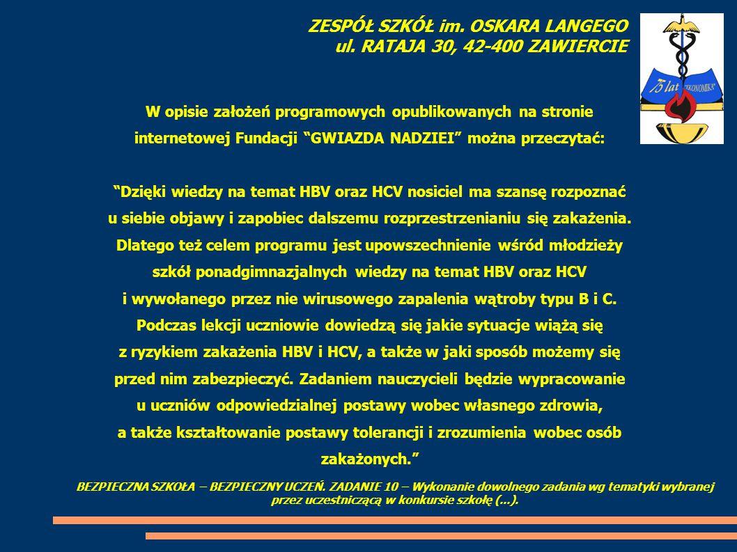 """W opisie założeń programowych opublikowanych na stronie internetowej Fundacji """"GWIAZDA NADZIEI"""" można przeczytać: """"Dzięki wiedzy na temat HBV oraz HCV"""