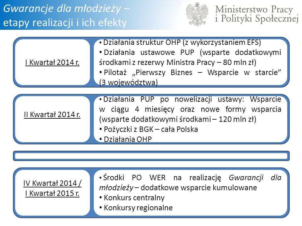 Gwarancje dla młodzieży – etapy realizacji i ich efekty I Kwartał 2014 r. Działania struktur OHP (z wykorzystaniem EFS) Działania ustawowe PUP (wspart