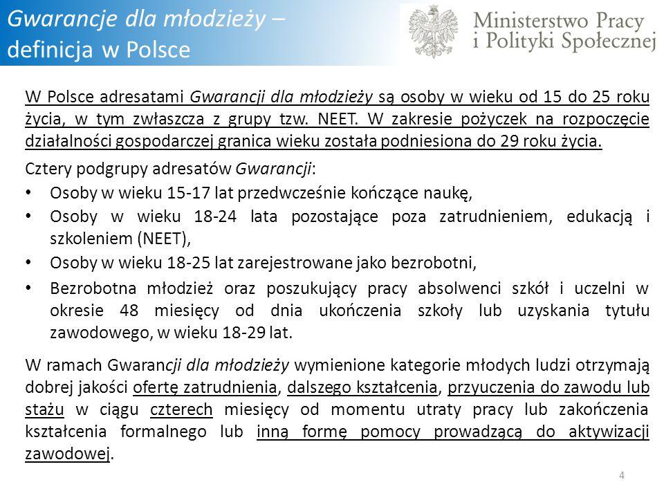 Gwarancje dla młodzieży – definicja w Polsce W Polsce adresatami Gwarancji dla młodzieży są osoby w wieku od 15 do 25 roku życia, w tym zwłaszcza z gr