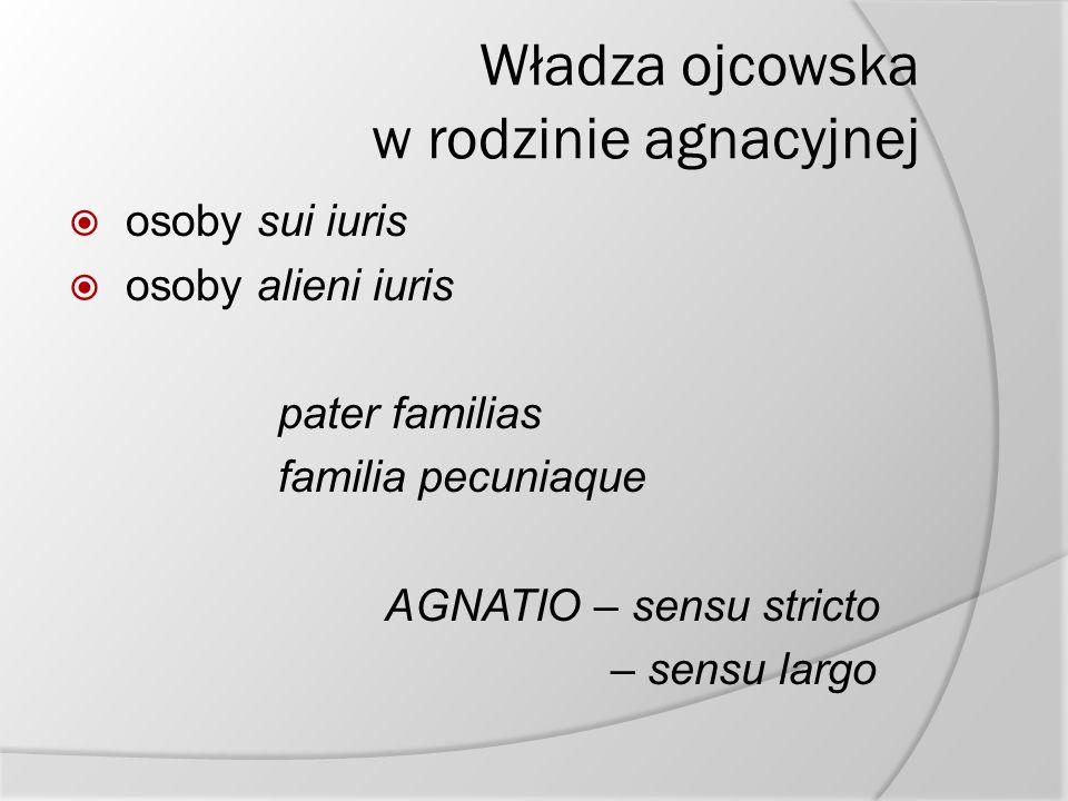 Władza ojcowska w rodzinie agnacyjnej  osoby sui iuris  osoby alieni iuris pater familias familia pecuniaque AGNATIO – sensu stricto – sensu largo